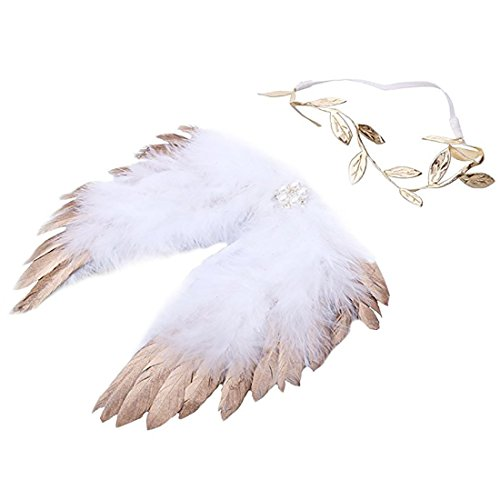 LWINGFLYER Gold Newborn Baby Feather Angel Wings with Leaf Halo Set , Photography Props