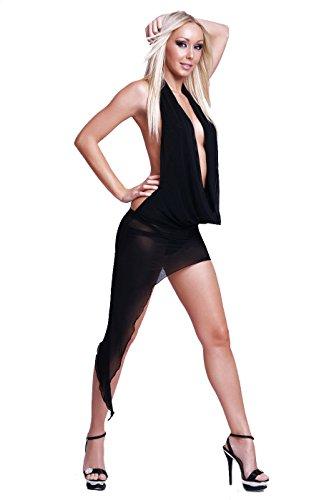 Sexy Nylon Kleid Wasserfallausschnitt in 4 Farben 36/38 Schwarz