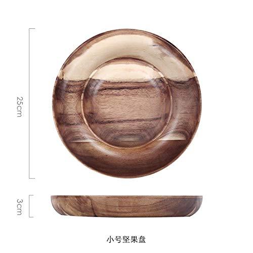 Teller Rundes Massivholz Obsttablett Getrocknete Obst Snacks Süßigkeiten Dessertteller Chinesische Art Haushaltsküchenbedarf S.