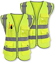 Pack of 2 Safety Vest Reflective Strips Yellow with Front Zipper 9 Pockets, Class 2 High Visibility Meets ANSI/ISEA Standards (Medium)