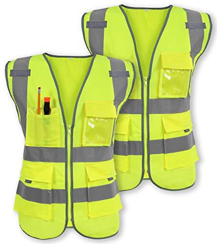 Galashield Chaleco de seguridad reflectante clase 2 con cierre frontal de alta visibilidad y 9 bolsillos chaleco de construcción cumple con las normas ANSI/ISEA (paquete de 2)