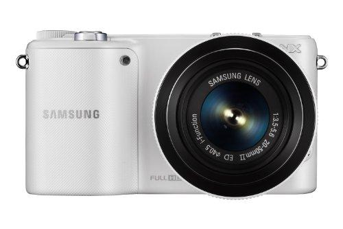 Samsung NX2020 Systemkamera Set (20,3 Megapixel, 9,4 cm (3,7 Zoll) LCD-Display, HDMI, WiFi, USB 2.0 inkl. 20-50 mm i-Function Objektiv, Zweitakku, Samsung 16GB microSD Karte, Adobe PS Lightroom) weiß