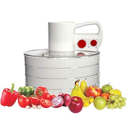 ABC 728.00 Dörrgerät mit 4 Dörretagen für Obst, Gemüse, Pilze usw., Ø 34 cm, erweiterbar, 3 Leistungsstufen, Abschaltautomatik