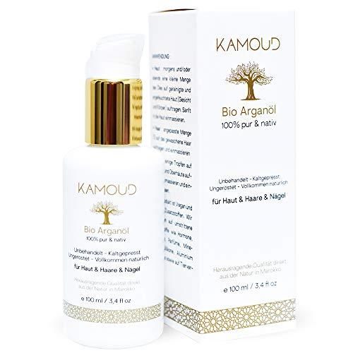 Kamoud Bio Arganöl Kaltgepresst 100 ml in Lichtschutz-Glasflasche Natürliche Feuchtigkeitspflege für junge Haut, Gesicht, Körper, Haare & Nägel 100% Vegan Pur Nativ | Argan Öl aus Marokko