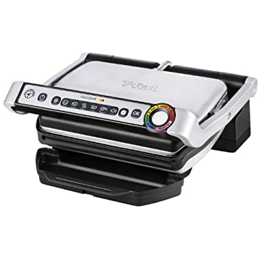 T-fal OptiGrill Indoor Grill, Electric Grill with Dishwasher Safe Plates, 1800-Watt, Silver, Model GC702