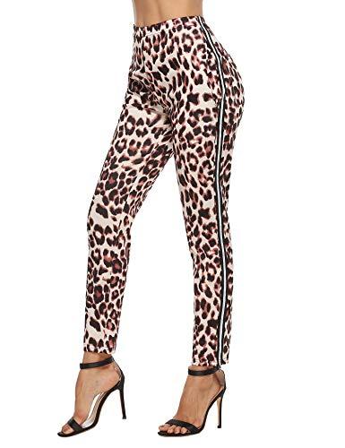 Akalnny Mallas de Deports Largas Pantalones Deportivos Leggings Mujer Elásticos Pantalon Patrón de Leopardo con Banda Lateral para Yoga Running Fitness