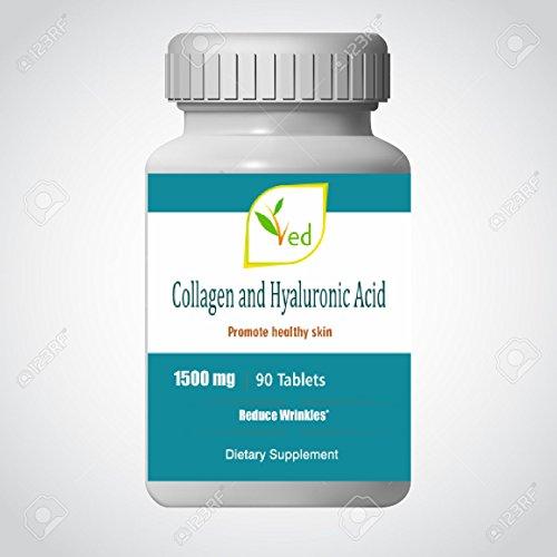 Suplemento dietético ultra puro | proteína de colágeno + ácido hialurónico | fortalecer articulaciones y huesos | suplemento de colágeno promueve una piel sana | 1500mg 90 tabletas