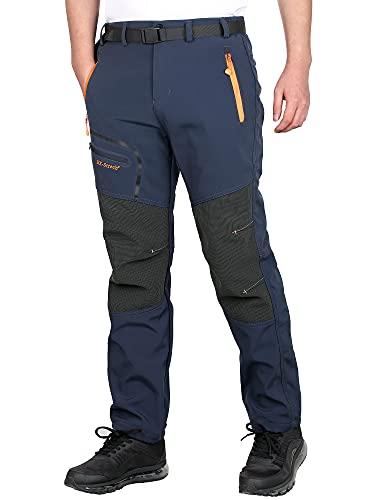 CARETOO Pantalón Deportivo con Cremallera y cinturón para Senderismo, Funcional, Trekking, Outdoor, Engrosado, Transpirable, de Secado rápido, Negro-con vellón-A, XL