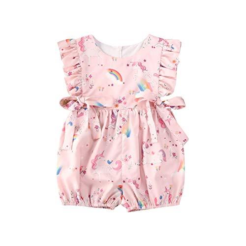 LUCSUN Enterizo de una pieza para bebé recién nacido, manga voladora, estampado de unicornio, mono de verano