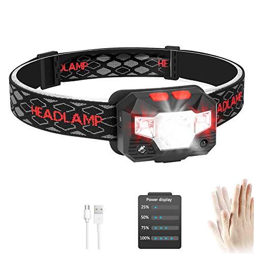 USB Wiederaufladbare LED Stirnlampe Kopflampe mit Energieanzeige Wasserdicht Mini Stirnlampe Kinder Perfekt für Joggen, Laufen, Gehen, Campen, Lesen, Angeln und andere Outdoor-Sportarten