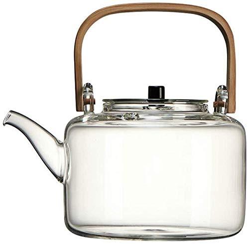 Bouilloire induction Faire théière 1100ml théières de verre résistant à la chaleur Set de thé à l'eau bouillie Bamboo poignée de poutre de bambou for le bureau de la maison extérieure WHLONG
