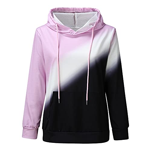 Uqiangy Hoodie Womens Classic Basic Hooded Athletic Top Lady Lightweight Casual Sweatshirt Blouse With Pocket,Multicolor (F-Pink, 14)