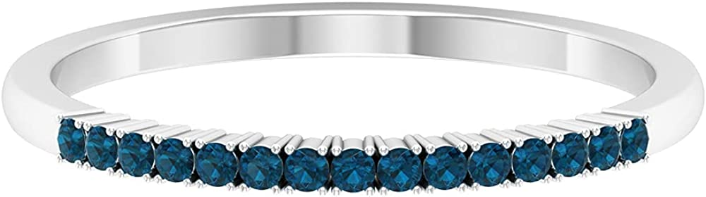 London Blue Topaz Stackable Band Ring (AAA Quality),14K White Gold,London Blue Topaz,Size:US 8.50