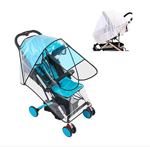 Cubierta universal para la lluvia del cochecito del cochecito de bebé, protector meteorológico para el cochecito de paseo con mosquitera (M)