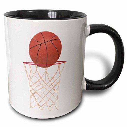 3dRose 14295_4''Basketball Hoop Net' Two Tone Black Mug, 11 oz,...