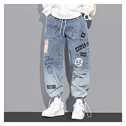 DOUYUAN Pantalón Cargo de Punk Pant Jeans de Hombre Streetwear otoño y Tobillo Longitud Hip-Hop Jeans Pantalones Pantalones de Pantalones (Color : Blue, Size : XXL)