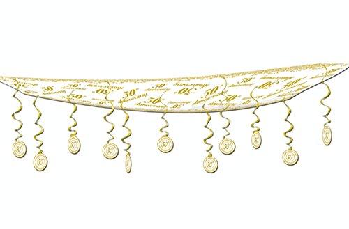 6Stück Gold und Weiß 50. Jahrestag Hanging Deckenleuchte Party Dekorationen 12'