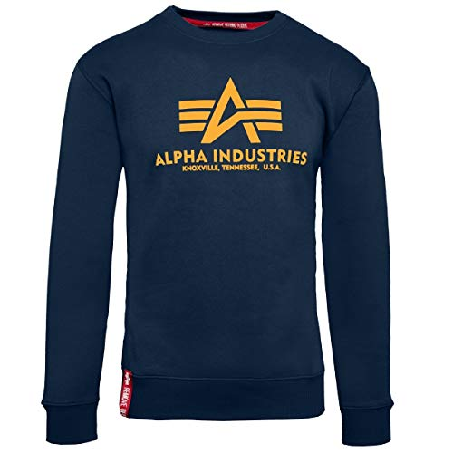 Alpha Industries Pullover Basic rot Olive schwarz weiß grau blau gelb (M, New Navy/Wheat)