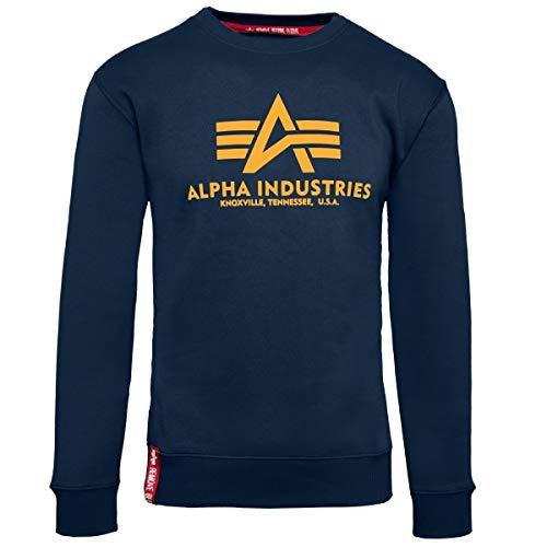 Alpha Industries Pullover Basic rot Olive schwarz weiß grau blau gelb (L, New Navy/Wheat)