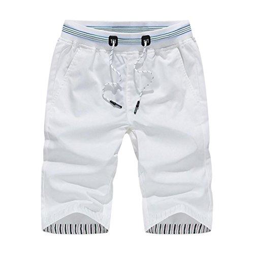 Styledress Herren Shorts Sommer,Herren Badehose Denim Shorts Jeans Sport Shorts Männer Elastische Kurze Hosen Jogging Hose Trainingsshorts Sporthose Schwimmende (Weiß, M)