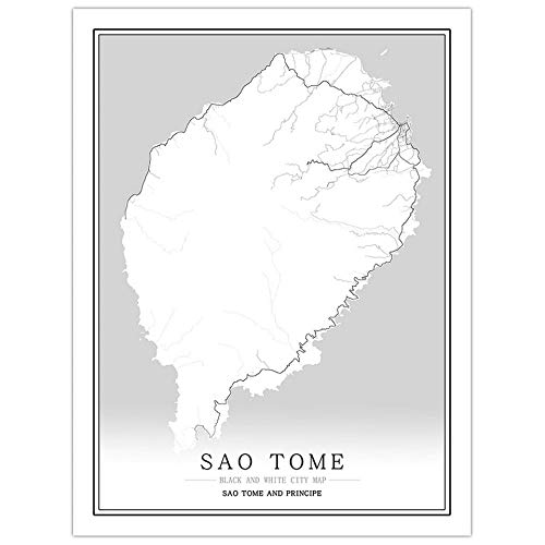 Print City Map In Black And White, Sao Tome And Principe City Map Painting Nordic Style Black And White Frameless Picture, Art Poster Wall Mural Paintings For Living Room And Bedroom,70 * 100cm