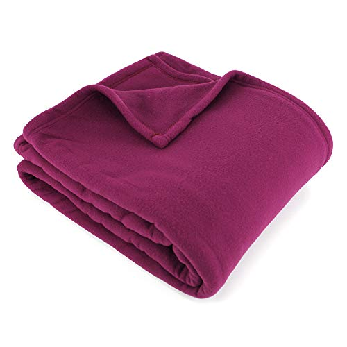 Couverture Polaire 220x240 cm 100% Polyester 350 g/m2 Teddy Violet Prune