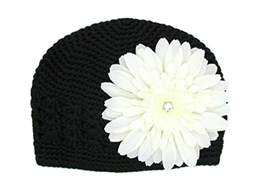 Jamie Rae Hats - Black Crochet Hat with White Daisy, Size: 12-18M