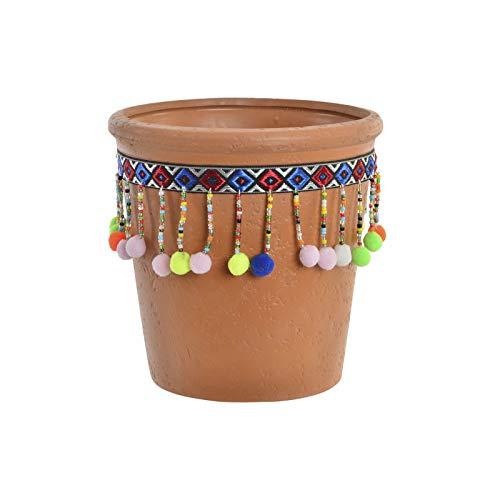 Huis en Mas terracotta bloempot met kleurrijke pompons, ideaal voor binnen en buiten. Etnisch design, 14,5 x 14,5 cm