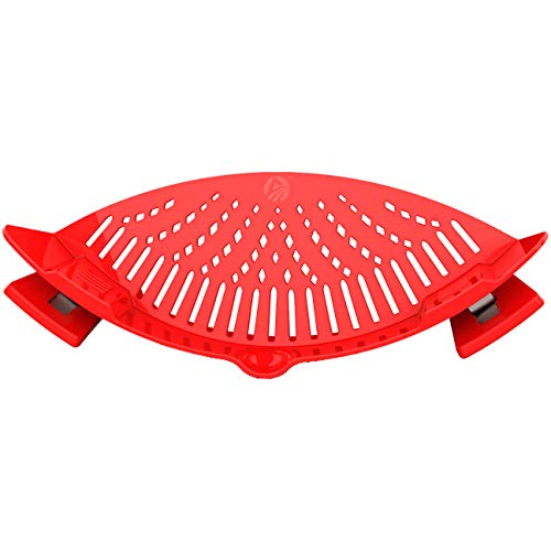 Clip On Pasta Strainer Silicone - Universal Fit for all Pots and Bowls | Snap On Drainer for Pasta,...