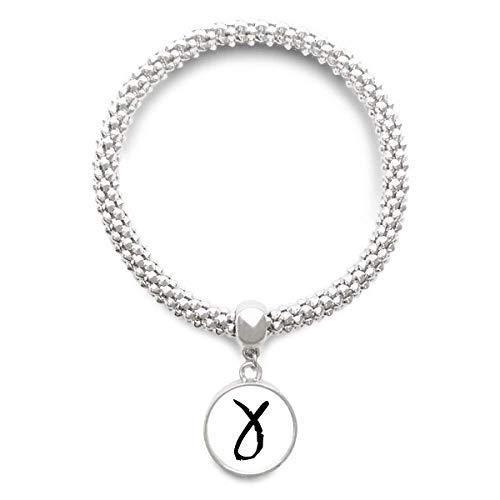 DIYthinker Womens Griekse Alfabet Gamma zwart Silhouette Sliver armband ronde hanger sieraden ketting
