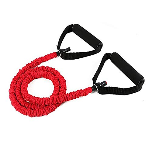 we fleece Resistance Bands with Handles Set - Fitness Home Workout Equipment Exercise Bands for Working Out Door Anchor Elastic Bands for Exercise Legs Ankle Straps Training(15lbs-Red)
