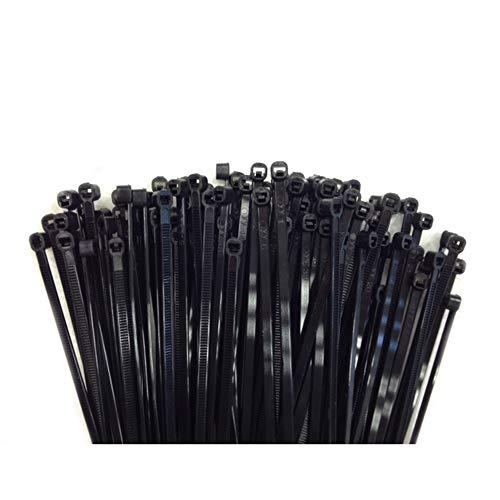 100 Kabelbinder alle Größen in schwarz weiss bunt Industriequalität (200x2,5, Schwarz (UV-stabilisiert))