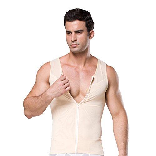 ZEROBODYS Männer Net Zipper Bauch-Körper-Former abnehmend Hemd Elastic Sculpting Weste-Träger Shaping Weste SS-M09 (XL, Beige)