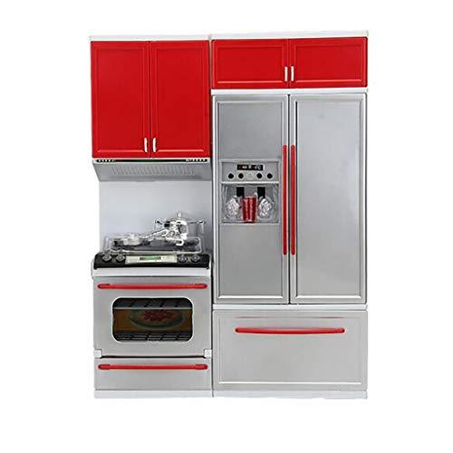 Modern Kids Play Kitchen,丨Kids Play Kitchen with Toy Accessories Set,Best Chefs Kitchen Playset,Mini Kids Kitchen Pretend Play 丨Cooking Set Cabinet Stove Girls Toy (Red)