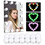 Led Vanity Mirror Lights, CASAVIDA Hollywood Makeup Lights 14 Dimmable RGB Stick on Mirror Light Bulbs 3 Color Modes 5 Adjustable Brightness for DIY Vanity Table Dressing Room (Mirror Not Include)