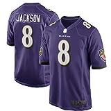 Lamar Custom Jackson Baltimore Football Ravens Jersey Deportes Camisetas Juego Jugador Púrpura/Negro Jersey NO.8 No Fácil De Desteñir Manga Corta
