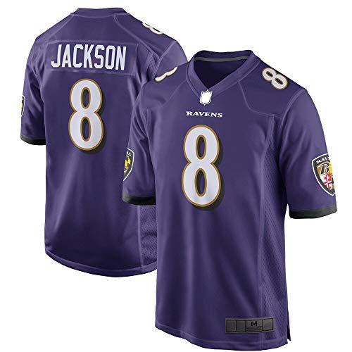 HUOJIAN Lamar Custom Jackson Baltimore Football Ravens Jersey Deportes Camisetas Juego Jugador Púrpura/Negro Jersey NO.8 No Fácil De Desteñir Manga Corta