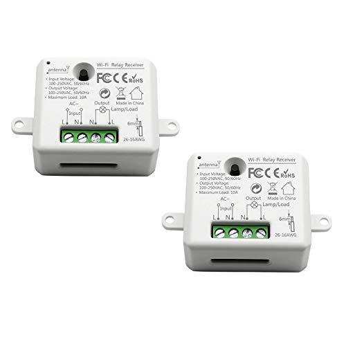 LoraTap 2er Pack Wifi Schalter Relais Modul Smart Home Switch mit Timer Fernbedienung über Handy für Hausautomation DIY Auf-/Unterputz Kompatibel mit Google Home