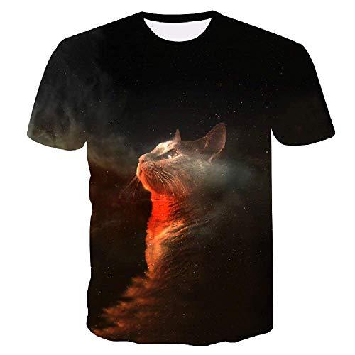 Lovelegis Taglia XXXXL - C022 - T-Shirt - Maglietta - Maglia - 3D - Maniche Corte - Uomo - Donna - Divertenti - Idea Regalo - Cosplay - Gatto - Gattino - Galaxy - Galassia - Stelle - Kawaii