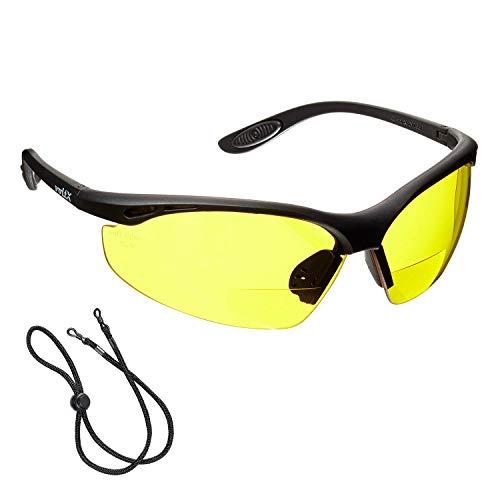 voltX 'Constructor' BIFOKALE Schutzbrille mit Lesehilfe (GELB +1.5 Dioptrie) CE EN166F Zertifiziert/Sportbrille für Radler enthält Sicherheitsband + Anti Fog UV400 Linse – Bifocal Safety Glasses
