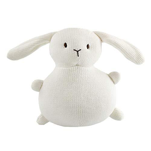 Houwsbaby Easter Knitted Rabbit Textile Stuffed Bunny Handmade Easter Toy Plush Gift for Kids Girls Boys Holiday Egg Hunting, White, 7.5''