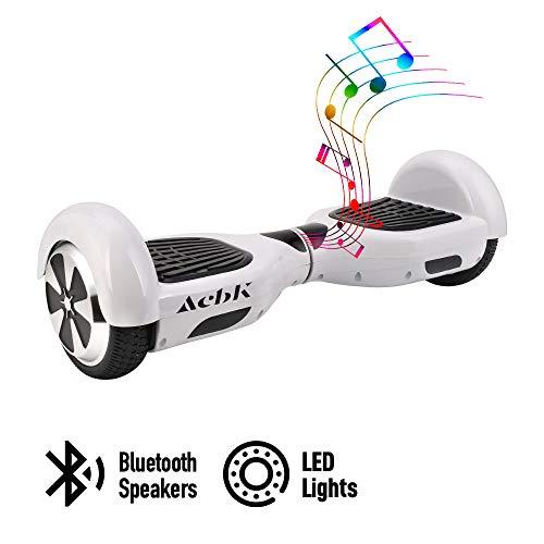ACBK - Patinete Eléctrico Hover Autoequilibrio con Ruedas de 6.5' (Altavoces Bluetooth + Luces Led integradas) Velocidad máxima: 10-12 km/h - Autonomía 10-20 km (Blanco)