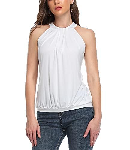 Dilgul Camiseta sin Mangas Plisada sin Mangas con Cuello Halter de Verano para Mujer Blusa Sexy de Camisetas,Blanco,XL/46