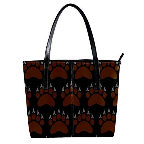 LORVIES Grizzly Bear Claw Brown PU Leder Schultertasche und Handtaschen für Damen