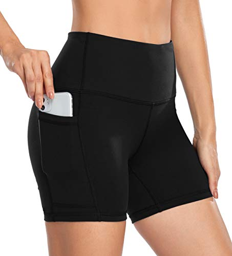 DF-deals Yoga Shorts for Women SpandexHigh Wasited Running Athletic Biker Workout Leggings Tight Fitness Gym Shorts with Pockets Black - M