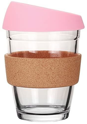 L'ifeager Reusable Coffee Cup Glass Travel Mug with Lid&Eco Friendly Cork sleeve Dishwasher and Microwave Safe BPA Free | 12oz | Birthday present (Pink)