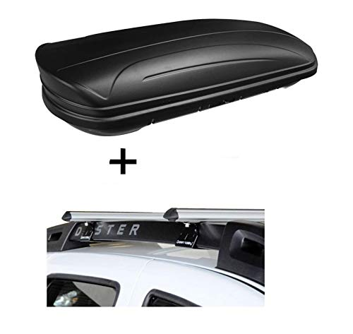 Dachbox VDPMAA320 320Ltr abschließbar schwarz matt + Alu Relingträger Aurilis Original kompatibel mit Dacia Duster mit Reling 5 Türer 2014-2017