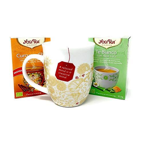 Yogi Tea Cofanetto Tazza + Infuso Curcuma Chai + Infuso Tè Blanco