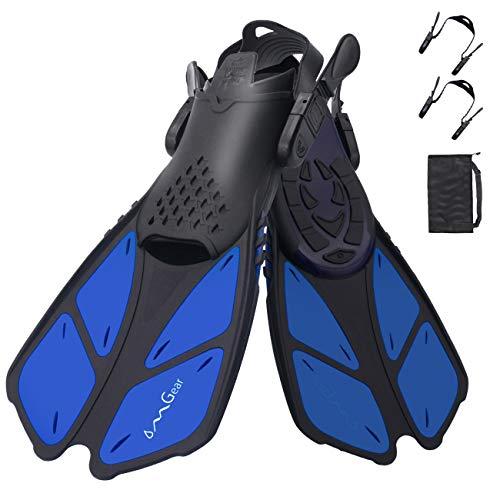 OMGear Swim Fins Snorkel Fins Short Diving Fins Swim Flippers Open Heel with Mesh Bag for Lap Swimming Snorkeling Diving Adult Men Women Kids Travel Size(Blue, S/M (Adult US Size 4.5-8.5))