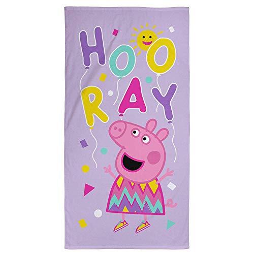 Peppa Pig Offizielles Ballon-Handtuch, super weiche Haptik, 100 % Baumwolle, perfekt für Zuhause, Strand und Schwimmbad, lila, 140 x 70 cm, rosa